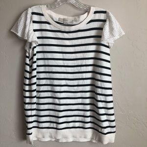 NWT Loft Cream/Blue Nautical Striped Top